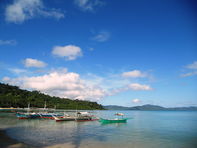 Tourist and fishing boats in Port Barton, San Vicente, Palawan, Philippines.