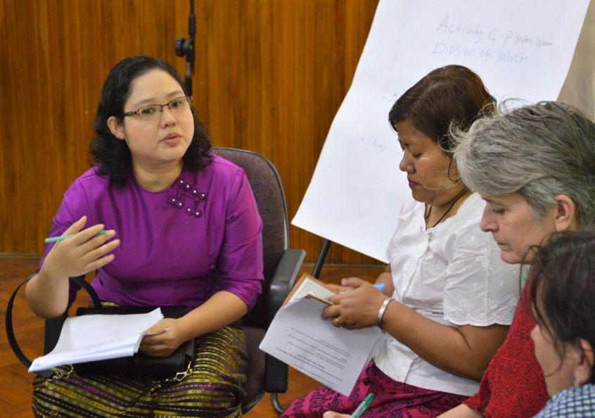 At the 'Mainstreaming gender in Myanmar aquaculture and fisheries sector' workshop held on International Women's Day on 8 March. The event was hosted by WorldFish together with the Livelihoods and Food Security Trust Fund (LIFT), the Department of Fisheries (DoF) and the Gender Equality Network (GEN).