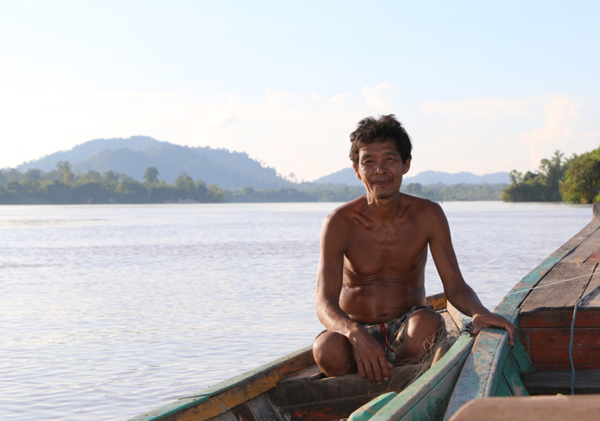 Nhoung, a fisher on the Mekong River, Cambodia.